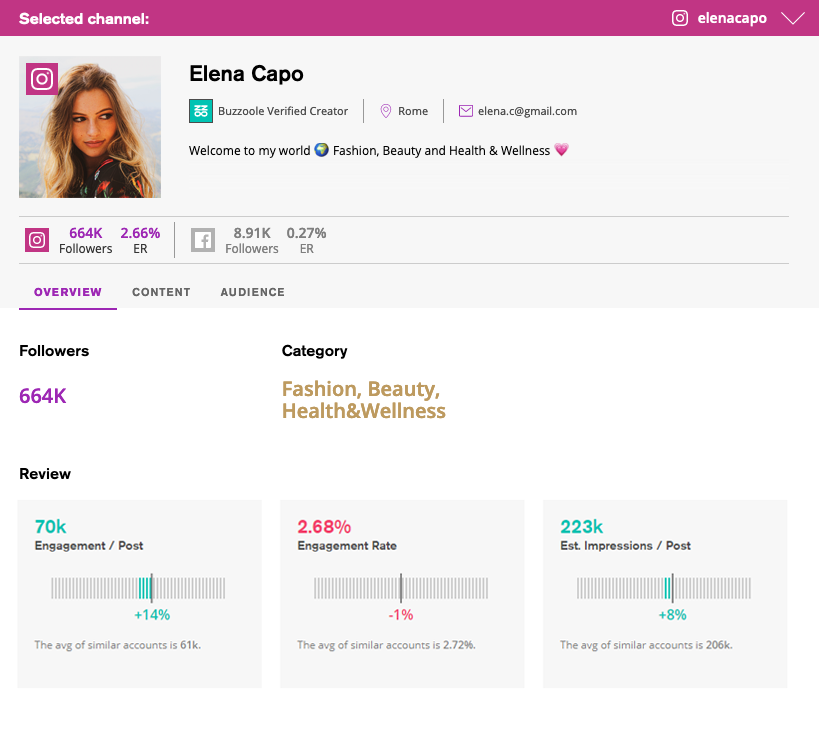 overview section new buzzoole creator profile