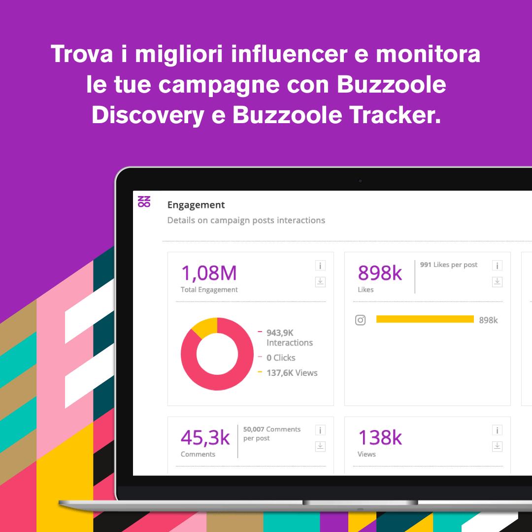 Trova i migliori influencer per il tuo brand e monitora le campagne - Buzzoole discovery e tracker